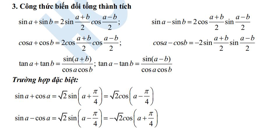 Công thức lượng giác cho Teen 2k1 về phần đại số lớp 11